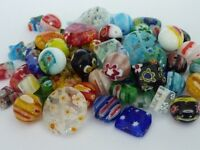 80 pce Millefiori Glass Beads Mix Size, Shape & Colours 4mm - 16mm