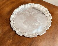 Towle Silverplate Round Serving Tray Vintage Scalloped 14.5""