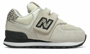 New Balance Infant 574 Animal Print Shoes Off White with Black