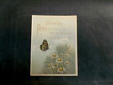 Victorian Easter Trade Card Butterfly Daisies, Cluster of Eggs on Back W1