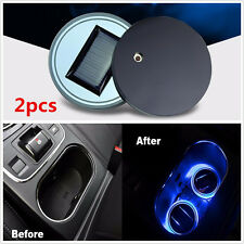 NEW 2pcs Universal Car Solar Energy Cup Holder Bottom Pad Mat W/ Blue LED Lights