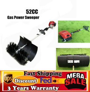 52cc Gas Power Sweeper Hand Held Broom Dirt Cleaning Driveway Turf Grass 1700W