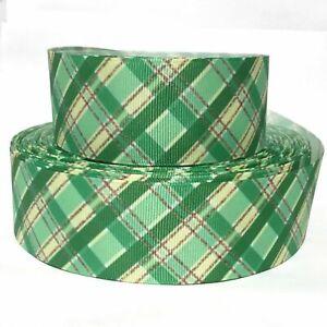 "GROSGRAIN RIBBON 5/8"", 7/8"", 1.5"", 3"" Green Plaid Stripes St. Patrick's Day"