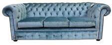 Chesterfield 3 Seater Boutique Sky Blue Velvet Fabric Sofa Settee