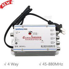 CATV VCR TV Antenna Signal Amplifier 4 Way Booster Splitter 30DB FREQ 45-880MHz