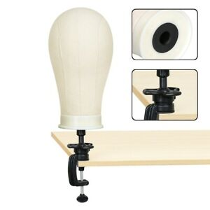 """22"""" Mannequin Cork Head Stand Canvas Block Wig Toupee Making Holder + Clamp"""