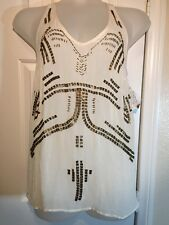 Free People Winter Sno Follow My Lead Beaded Tank Top Shirt F945T685 Size M NWT