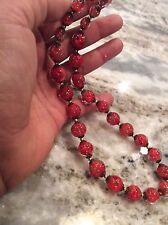 Stunning Italian venetian  murano red Copper Foil art glass  necklace