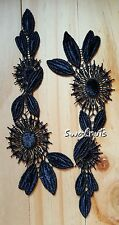 2pcs Embroidered BLACK Flowers & Leaves Collar Lace Applique Patch Motif