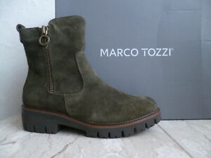 Marco Tozzi Women's Ankle Boots Green Olive Leather New