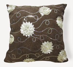 Sc204a Light Brown 3D Flower Sequin Velvet Cushion Cover/Pillow Case*Custom Size