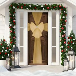 Large Gold Christmas Door Bow Deluxe Festive Xmas Decoration Double Wrap Ribbon