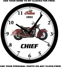 1951 INDIAN CHIEF MOTORCYCLE WALL CLOCK-Free USA Ship