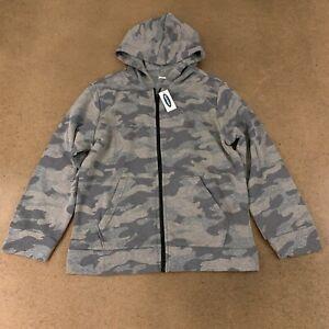 Old Navy Boys Size Large (10-12) Heather Gray Camo Uniform Zip Hoodie NWT