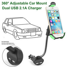 360° Adjustable Car Mount Holder Dual USB 2.1A Car Charger For All Mobile Phone
