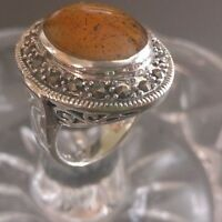 VINTAGE LARGE AMBER AND CLUSTERED MARCASITE 925 STERLING SILVER RING