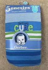Gerber Baby Boys 5 Pack Onesies Green Blue Striped 3-6 Months Baby Shower Gift