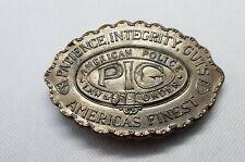 Police Law & Order Belt Buckle Vintage Pig Patience Integrity Guts American