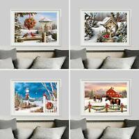 HN- KF_ Christmas Full Diamond Painting Snow Scene Embroidery Cross Stitch Art K