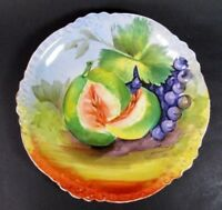 Limoges French Plate Antique Porcelain Fruit Hand Painted Wall Plaque Signed