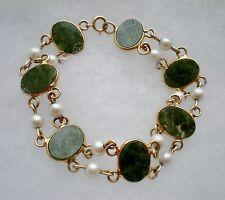 14K Yellow Gold Cultured White Pearl Green Nephrite Jade Tennis BRACELET 14.3 g.