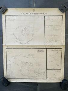 Original Nautical Chart Map Navy Pacific Atolls Marshall Islands 1944 Decor WWII