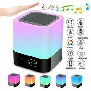 LED Bluetooth Speaker Touch Night Light Music Player Smart Desk Lamp Alarm Clock