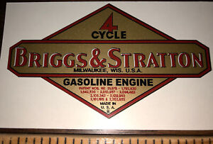 """Briggs & Stratton Engine decal old Reproduction 3 3/4"""" 1949-62 Mid Sized"""
