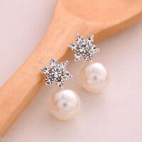 1 Pair Fashion Women Crystal Rhinestone Pearl Ear Stud Earrings Elegant Jewelry