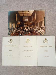 BUCKINGHAM PALACE MENUS FROM 1951,1950 PLUS CHRISTMAS CARD LORD AND LADY LUKE HO
