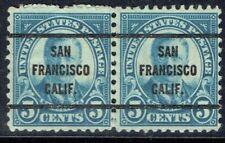 Precancel pair 1927 5c Roosevelt (637-63) from SAN FRANCISCO CA. Nice type!