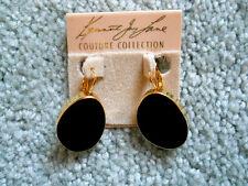 Enamel Eurowire Pierced Earrings Kenneth Jay Lane Gold Black