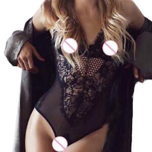 Sexy/Sissy Body Mesh Floral Bodysuit Teddy Top Sleeveless Lingerie Nightwear