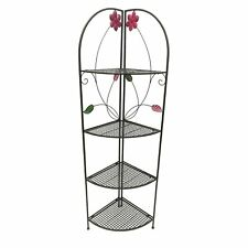 Four Shelf Metal Foldable Corner Rack with Flower Accents, Black