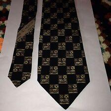 Valentino Cravatte 100% Silk Mens Tie Vintage Black & Flower Pattern Made ITALY