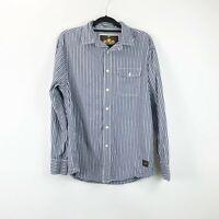 Nautica Jeans Wind & Sail Medium Mens Blue White Vertical Striped Shirt
