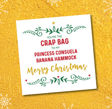 Christmas card - Friends - Crap Bag to Princess Consuela - boyfriend girlfriend