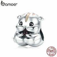 BAMOER Genuine S925 Sterling silver Charm Enamel Cute Hamster Fit Women Bracelet