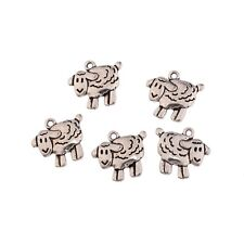 10pcs Sheep Lamb Farm Animal Beads Charms Tibetan Silver Pendant DIY 19*18mm