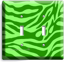 GREEN ZEBRA STRIPES ANIMAL PRINTS 2 GANG LIGHT SWITCH WALL PLATE ROOM HOME DECOR