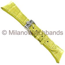 26mm Glam Rock High Quality Hand Made Yellow Genuine Alligator Curved Watch Band