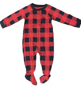 Wondershop Kids Holiday Pajamas Buffalo Check Red & Black Sizes 6-9M, 12M, 8, 10