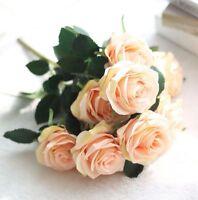 10 Head Silk Rose Artificial Flowers Fake Bouquet Buch Wedding Pretty Decor G5Z