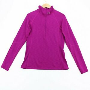 Under Armour 1/4 Zip Pullover Top Womens Lg Fuscia Long Sleeve Running Outdoors