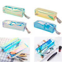 Laser Clear PU Pencil Pen Case Cosmetic Makeup Bag Zipper Pouch Purse Organizer