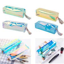 Laser Clear PU Pencil Pen Case Cosmetic Makeup Bag Zipper Pouch Purse Organizer