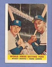 WORLD SERIES HANK AARON MICKEY MANTLE 1959 TOPPS #418 BASEBALL CARD SKU BLUE 842