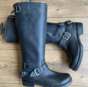 Vgc Hardly Worn Frye Mexico  Black Leather Knee High Biker Boots 4 37 US6