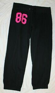 PINK Victoria's Secret Women's Black Hot Pink #86 Sweatpants Joggers Large