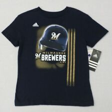 MLB Milwaukee Brewers Childs Navy Rainshade Navy T-shirt SZ 5-6